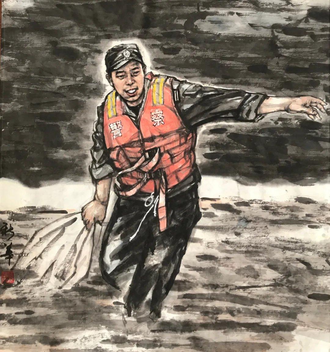 公安美术家在行动・防汛救灾篇